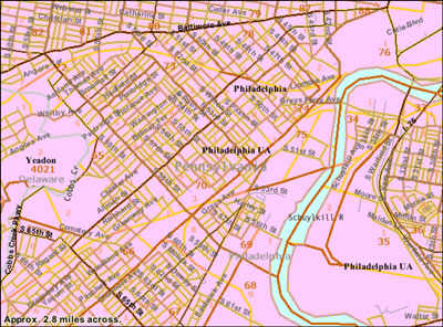 Map of SW Philadelphia