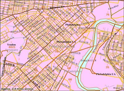 Map of SW Philadelphia