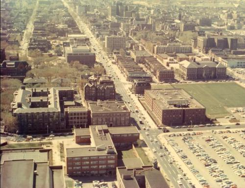 Aerial view of campus 1962