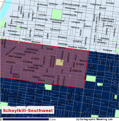 Boundaries (in red): South Broad Street to the Schuylkill and Washington Avenue to South Street.