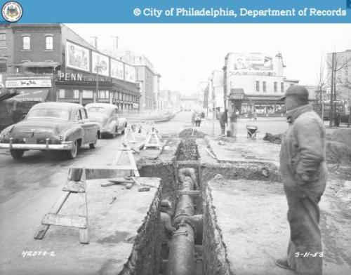 34th St and Walnut St 3/11/1953