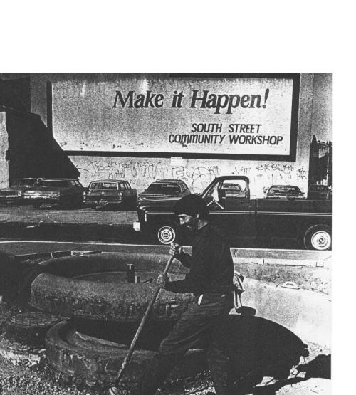 Man works on a restored horse during reconstruction project 23rd and South Streets (1978)